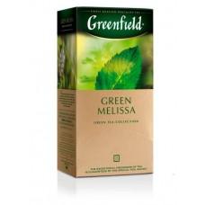 Чай зеленый в пакетиках для чашки Greenfield Green Melissa (Гринфилд Грин Мелисса), 25*1,5 г